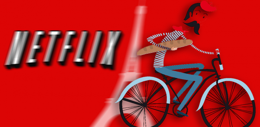 French Man with Baguette Biking By Netflix Logo
